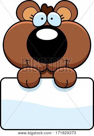Cartoon Bear Cub Sign