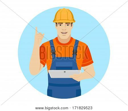 Builder pointing up and holding digital tablet. Portrait of builder in a flat style. Vector illustration.