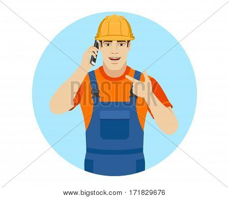 Builder talking on the phone and pointing on the phone. Portrait of builder in a flat style. Vector illustration.