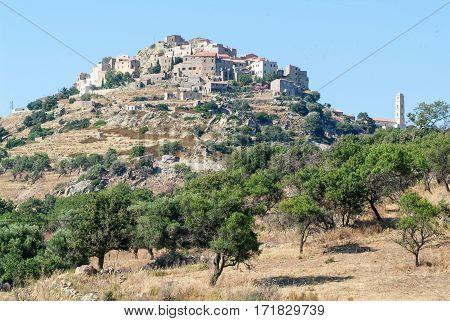 The village of San Antonio on Corsica island France