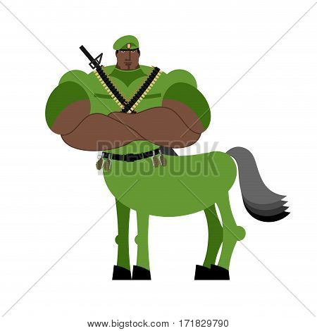 Warrior Centaur Soldier Fairytale Creature. Military Man Horse Isolated. Fantastic Army Animal. Cent