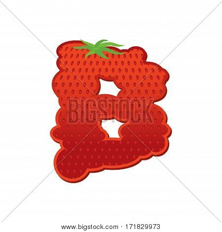 Letter B Strawberry Font. Red Berry Lettering Alphabet. Fruits Abc