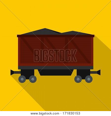 Railway wagon loaded with coal icon. Flat illustration of railway wagon loaded with coal vector icon for web isolated on yellow background