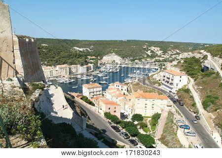 The port of Bonifacio on Corsica island France