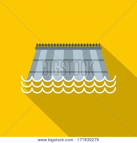Hydro turbine icon. Flat illustration of hydro turbine vector icon for web isolated on yellow background
