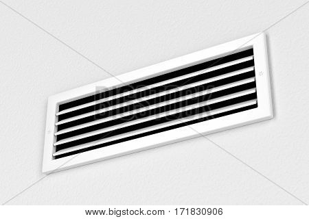 Air vent on the wall, 3D illustration