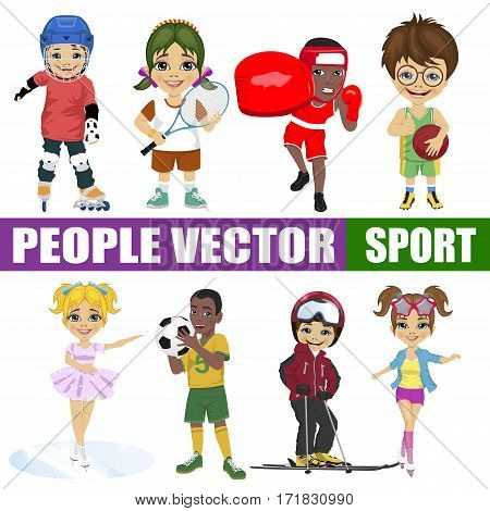 Set of diverse kids on white background. Hockey player, tennis, boxer, basketball, figure skater, soccer, skier, roller
