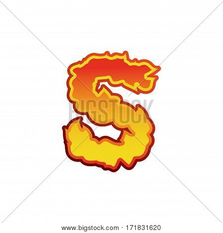 Letter S Fire. Flames Font Lettering. Tattoo Alphabet Character. Fiery Sign Alphabet