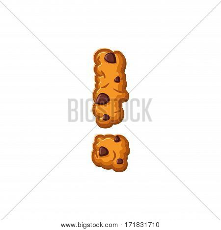 Exclamation Mark Letter Cookies. Cookie Font. Oatmeal Biscuit Alphabet Symbol. Food Sign Abc