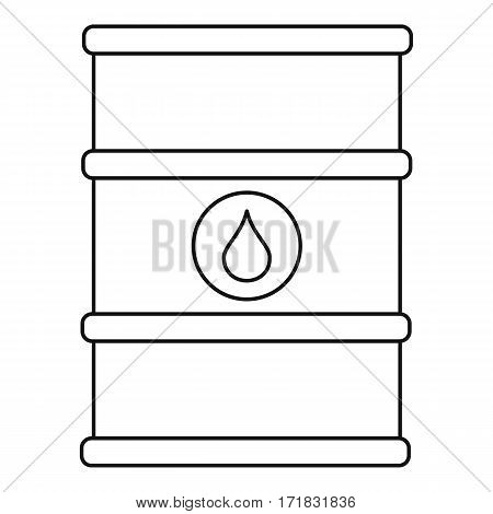 Oil barrel with label icon. Outline illustration of oil barrel with label vector icon for web