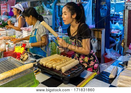 Thai Street Food, Grilled Vietnamese Pork Sausage