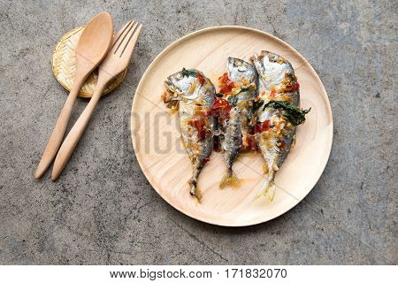 Mackerel with sauce chili stylish food (Thai food)