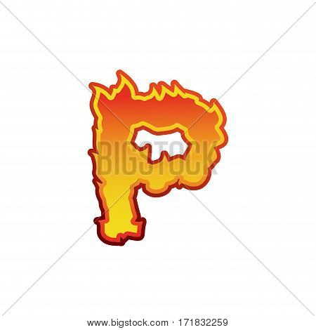 Letter P Fire. Flames Font Lettering. Tattoo Alphabet Character. Fiery Sign Alphabet