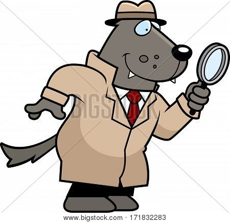 Cartoon Wolf Detective