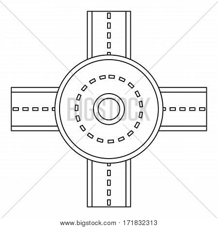 Road junction icon. Outline illustration of road junction vector icon for web