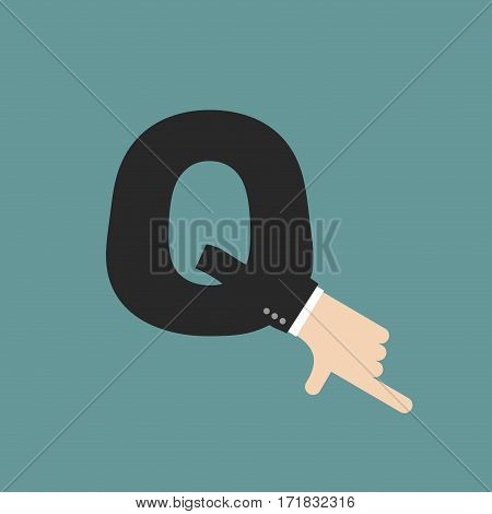 Q Letter Businessman Hand Font. It Shows Finger Print. Arm Symbol Alphabet. Sign Of Abc