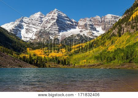a scenic autumn landscape at maroon bells Aspen Colorado