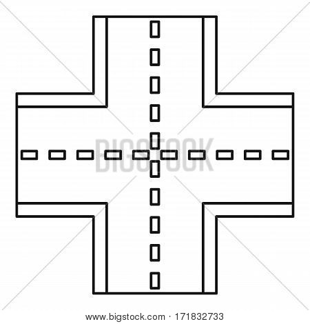 Crossroad icon. Outline illustration of crossroad vector icon for web
