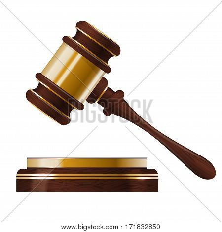 Wooden judges gavel isolated on white background.
