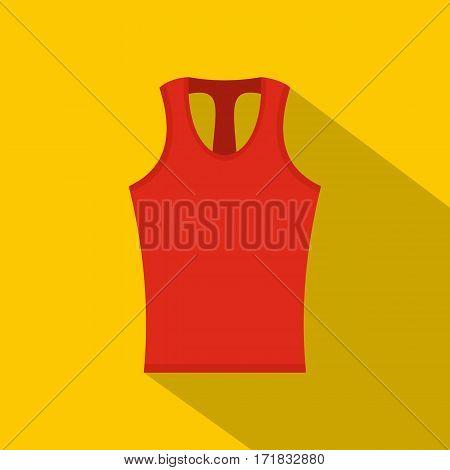 Red sleeveless shirt icon. Flat illustration of red sleeveless shirt vector icon for web isolated on yellow background