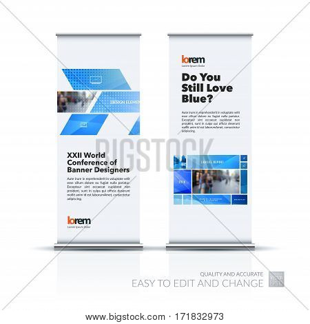 Abstract business vector set of modern roll Up Banner stand design template with many blue rectangles, soft shapes for exhibition, show, exposition, expo, presentation, parade, events.