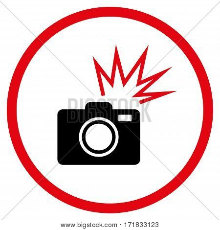 Camera Flash rounded icon. Vector illustration style is flat iconic bicolor symbol inside circle intensive red and black colors white background.