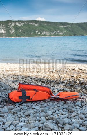 Safety jacket on a beach in France