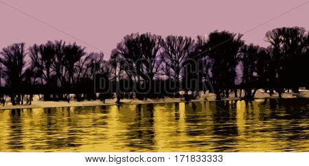 Abstract, abstraction background, art background, pink and yellow abstract. Artistic abstraction. Abstract landscape.Art. Landscape. Pink and gold. River.