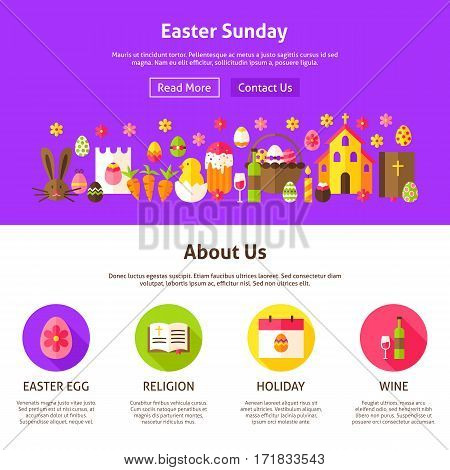 Easter Sunday Website Design. Flat Style Vector Illustration for Website Banner and Landing Page. Spring Holiday.