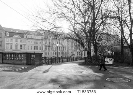 BERLIN, GERMANY- December 21, 2016: Typical Street view December 21, 2016 in Berlin, Germany. is the capital of Germany. With a population of approximately 3.5 million people.BERLIN, GERMANY