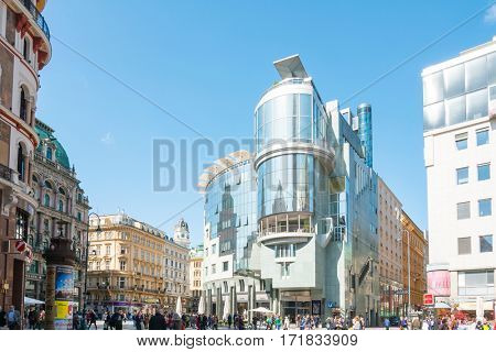 VIENNA, AUSTRIA-April 20, 2016: Tourists on foot Graben Street in Vienna on April 20, 2016.Vienna is Austria's primary city, with a population of about 1.757 million.