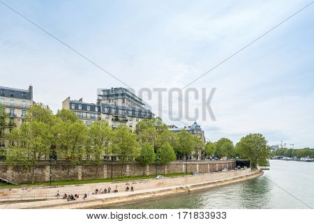 PARIS, FRANCE - May 7 : beautiful Street view of  Buildings around Paris city. Paris is the capital and most populous city of France. May 7, 2016, Paris, France.
