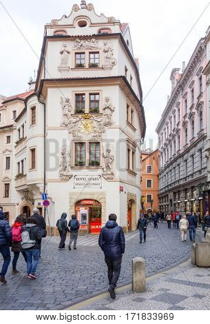 PRAGUE, CZECH REPUBLIC - April 26, 2016 : Beautiful street view of Traditional old buildings in Prague, Czech Republic. April 26, 2016 in PRAGUE