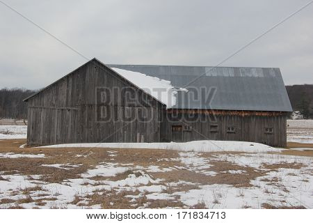 A barn in Sleeping Bear Dunes National Lakeshore, Michigan in snow