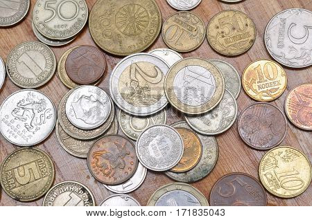 Lot of different coins from different countries