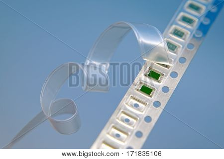Surface mount components on a carrier tape