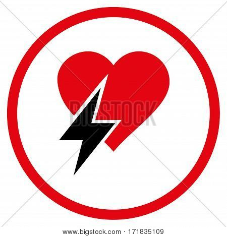 Heart Shock rounded icon. Vector illustration style is flat iconic bicolor symbol inside circle intensive red and black colors white background.