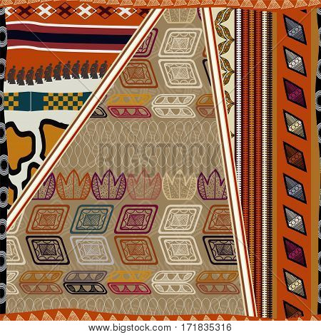 Seamless texture of African. Bright ethno pattern.