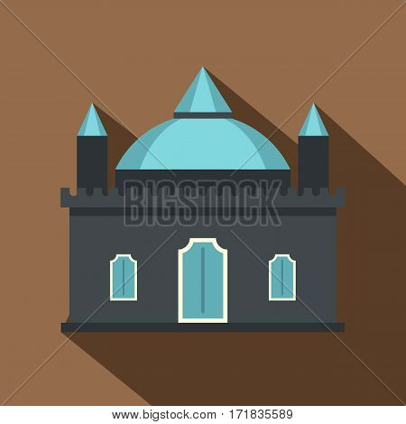 Kingdom palace icon. Flat illustration of kingdom palace vector icon for web isolated on coffee background