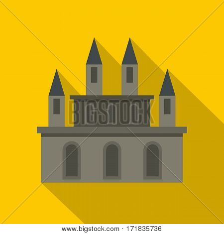 Medieval castle icon. Flat illustration of medieval castle vector icon for web isolated on yellow background