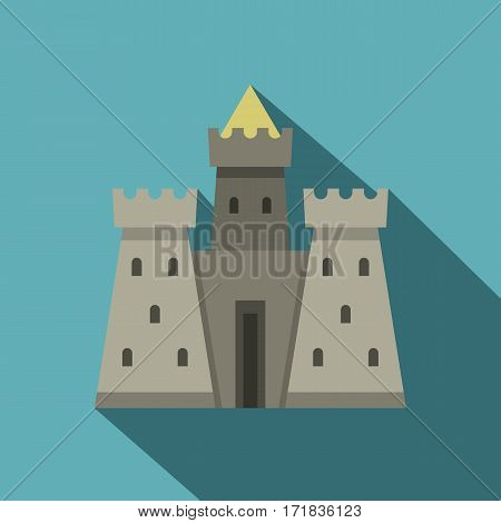 Residential mansion with towers icon. Flat illustration of residential mansion with towers vector icon for web isolated on baby blue background