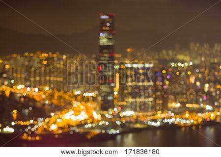 Abstract blurred Hong Kong city business downtown aerial view over Victoria Bay