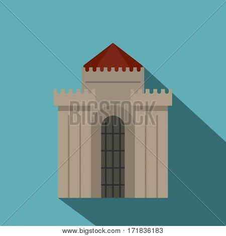 Medieval building icon. Flat illustration of medieval building vector icon for web isolated on baby blue background