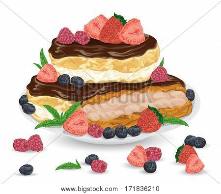 Set of eclairs on plate with praline and cocoa cream in chocolate glaze. French pastries with strawberry, raspberry, blueberry and mint leaves. Isolated elements. Hand drawn vector illustration.
