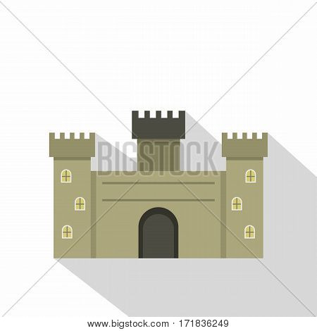 Old fortress towers icon. Flat illustration of old fortress towers vector icon for web isolated on white background