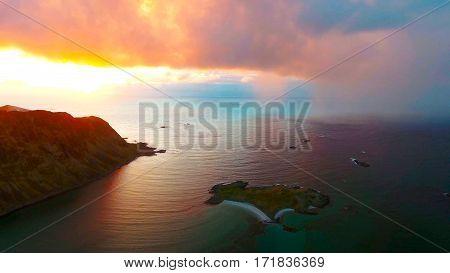 Aerial view, Lofoten islands, Reine, Sea, Norway