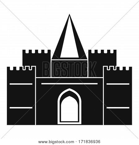 Residential mansion with towers icon. Simple illustration of residential mansion with towers vector icon for web