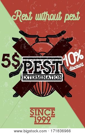 Pest control banner with exterminators of insects in chemical protective using repellents against cockroaches flat vector illustration