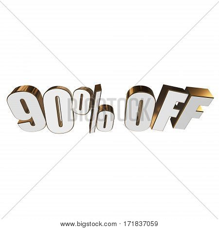 90 percent off letters on white background. 3d render isolated.