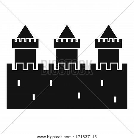 Medieval wall and towers icon. Simple illustration of medieval wall and towers vector icon for web